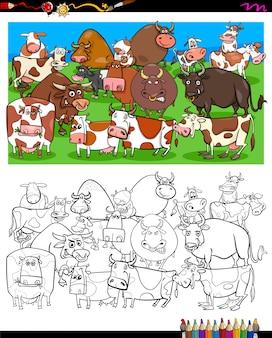 Libro da colorare di caratteri di mucche e tori