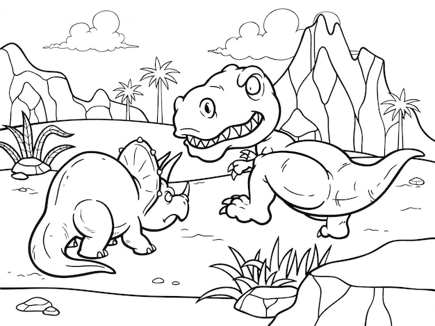Libro da colorare di cartoni animati - dinosauri che combattono