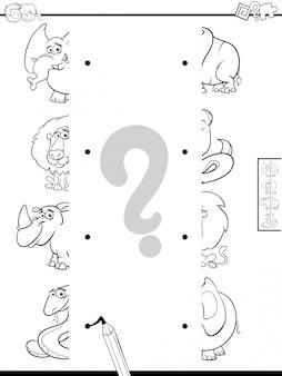 Libro da colorare di corrispondenza a metà degli animali