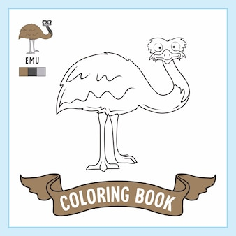 Libro da colorare di emu bird animals