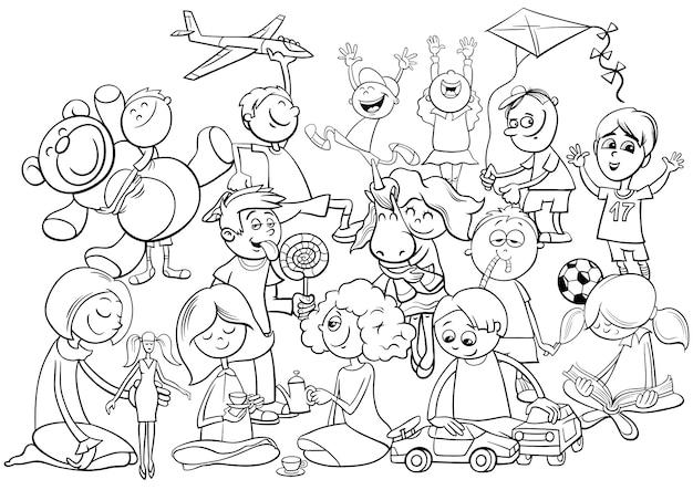 Libro da colorare di gruppo giocoso bambini