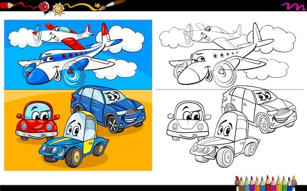 Libro da colorare di personaggi di aerei e automobili
