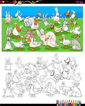 Libro da colorare di personaggi di anatre e conigli