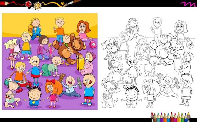 Libro da colorare di personaggi divertenti per bambini