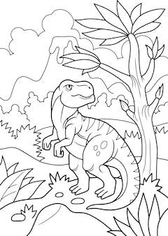 Libro da colorare dinosauro preistorico