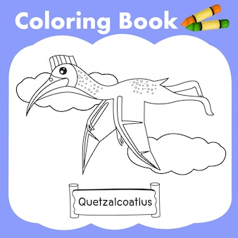 Libro da colorare dinosauro quetzalcoatlus