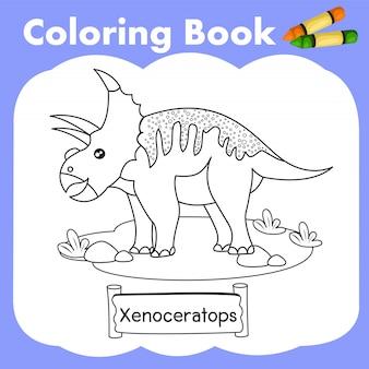 Libro da colorare dinosauro xenoceratops