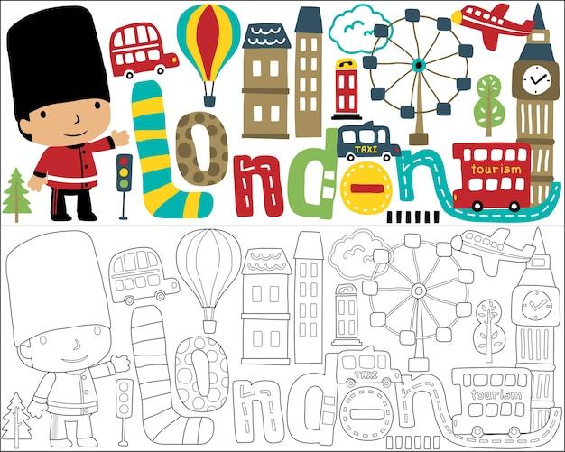 Libro da colorare o pagina con il cartone animato della città di londra della guardia reale