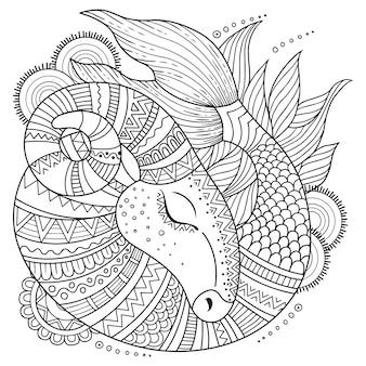 Libro da colorare per adulti. sagoma del capricorno su sfondo bianco. capricorno dello zodiaco.