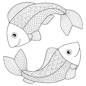Libro da colorare per adulti. sagoma di frecce e arco su sfondo bianco. pesci segno zodiacale. pesce.