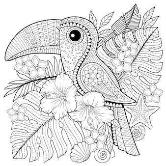 Libro da colorare per adulti. tucano tra foglie e fiori tropicali. pagina da colorare per rilassarsi e relif