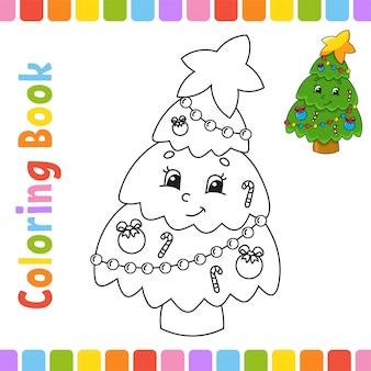 Libro da colorare per bambini. carattere allegro. illustrazione. stile cartone animato carino. pagina di fantasia per bambini.