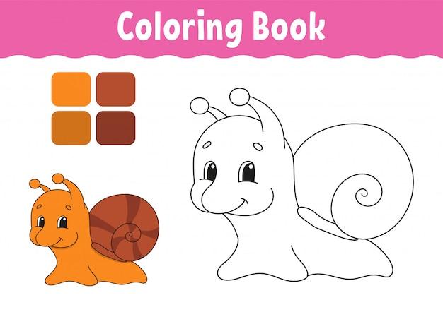 Libro da colorare per bambini. carattere allegro. illustrazione vettoriale stile cartone animato carino. pagina di fantasia per bambini.
