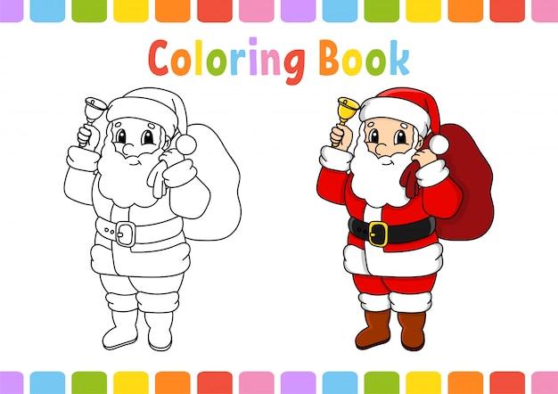 Libro da colorare per bambini. carattere allegro. illustrazione vettoriale stile cartone animato carino.