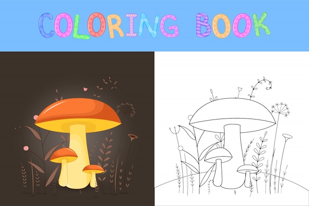 Libro da colorare per bambini con animali cartoon. compiti educativi per bambini in età prescolare funghi carini.