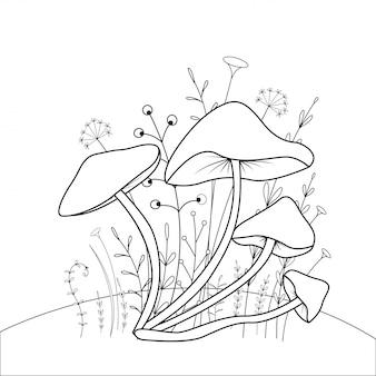 Libro da colorare per bambini con animali cartoon. compiti educativi per bambini in età prescolare funghi carini