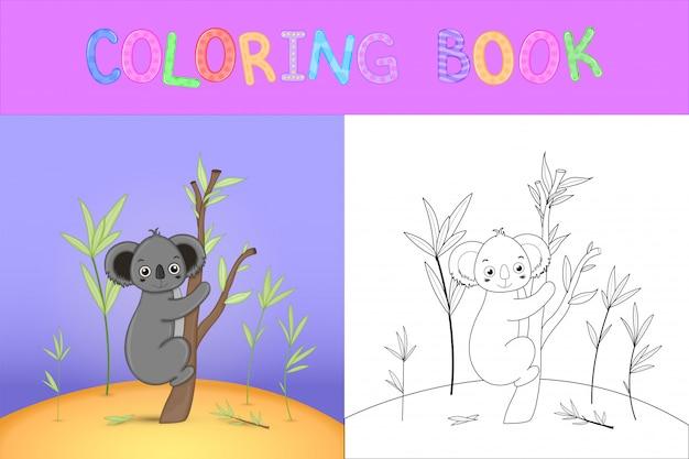 Libro da colorare per bambini con animali cartoon. compiti educativi per bambini in età prescolare simpatici koala