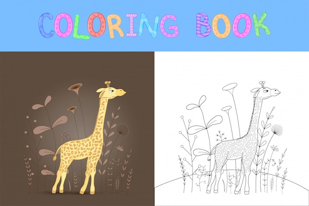 Libro da colorare per bambini con animali cartoon.