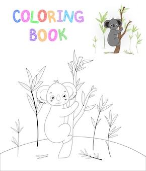 Libro da colorare per bambini con animali dei cartoni animati. attività educative per bambini in età prescolare bello koala