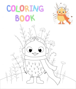 Libro da colorare per bambini con animali dei cartoni animati. compiti educativi per bambini in età prescolare dolce pollo