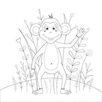 Libro da colorare per bambini con animali dei cartoni animati. compiti educativi per scimmie sveglie in età prescolare