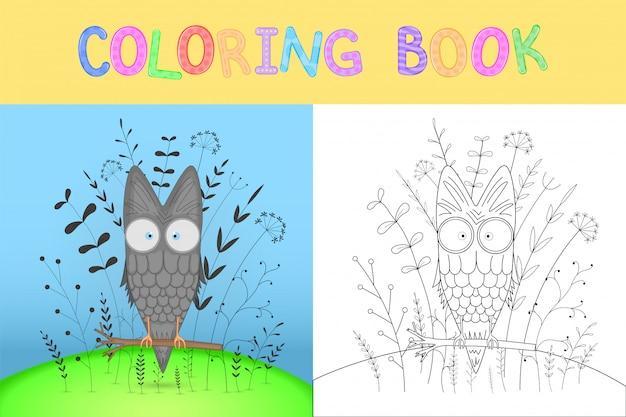 Libro da colorare per bambini con animali dei cartoni animati. gufo