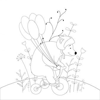 Libro da colorare per bambini con orso degli animali