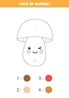 Libro da colorare per bambini. fungo kawaii carino.