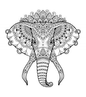 Libro da colorare testa di elefante mandala