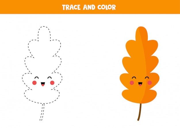 Libro da ricalcare e colorare con foglia kawaii per bambini.