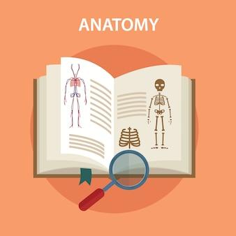 Libro di anatomia con lupe