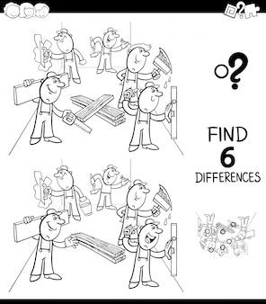 Libro di colore del gioco di differenze con i costruttori