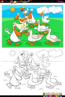 Libro di colore del gruppo di caratteri dell'animale da allevamento delle anatre