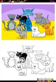 Libro di colore del gruppo di personaggi animali divertenti gatti