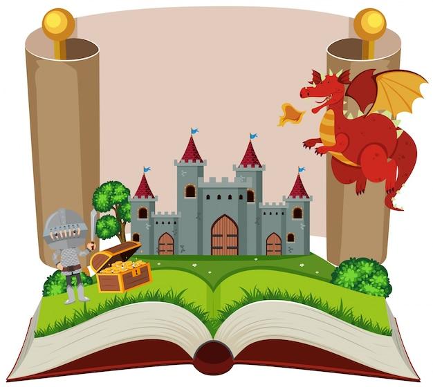 Libro di fiabe con cavaliere e castello