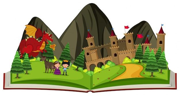 Libro di fiabe con drago al castello