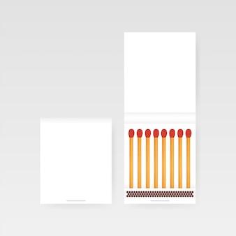 Libro di fiammiferi vettoriale. vista dall'alto chiuso vuoto aperto. illustratrion stock vettoriale.
