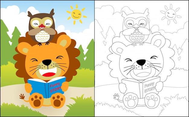 Libro di lettura con cartone animato leone e gufo