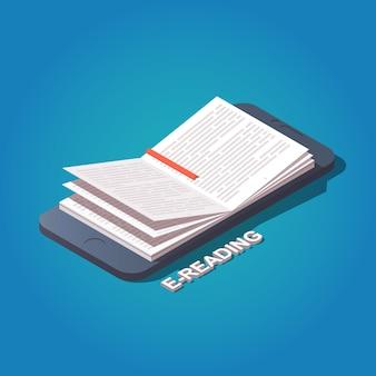 Libro di lettura dal concetto di telefono cellulare