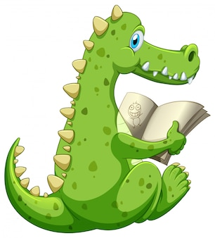 Libro di lettura del coccodrillo su fondo bianco