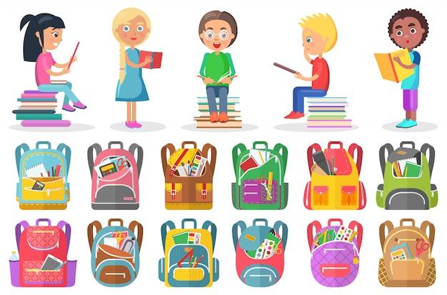 Libro di lettura dell'allievo, borsa di scuola, vettore del segno di studio