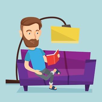 Libro di lettura dell'uomo sull'illustrazione di vettore del sofà.
