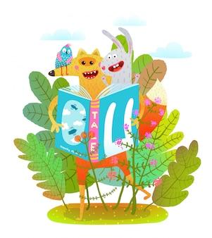 Libro di lettura felice del coniglio e dell'uccello della volpe in foresta