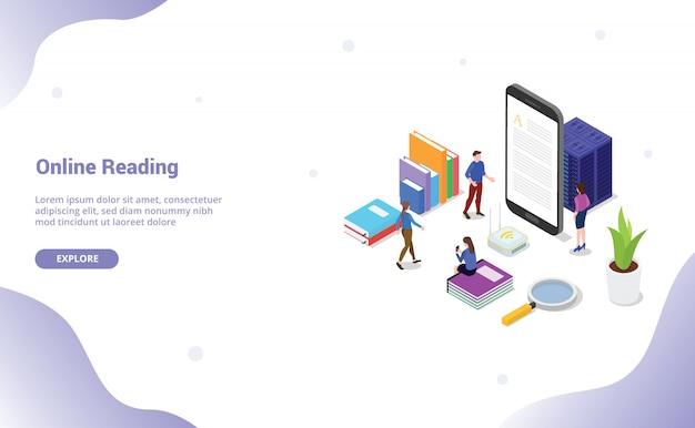 Libro di lettura online o digitale con persone lette su smartphone per modello di sito web o homepage di destinazione