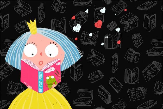 Libro di lettura ragazza carina