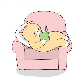 Libro di lettura sveglio del gatto del fumetto sul vettore del sofà.
