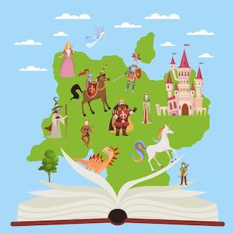 Libro di storia. libri educativi del bambino con i personaggi di favola e di fantasia di storie per l'immaginazione che legge l'illustrazione di vettore