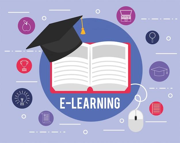 Libro didattico di e-learning con cappello di laurea