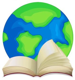 Libro e il mondo su sfondo bianco