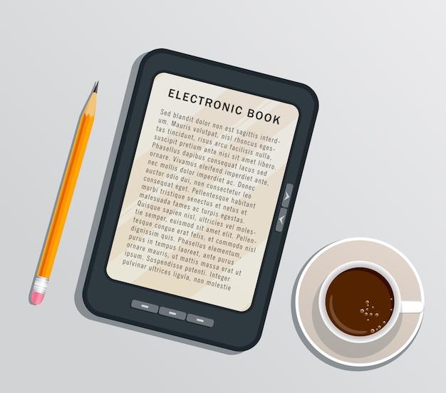 Libro elettronico della lettura sulla compressa digitale isolata su bianco